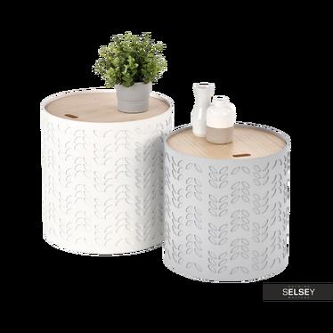 Beistelltisch-Set MENDES mit Stauraum weiß/grau 35 cm und 39 cm