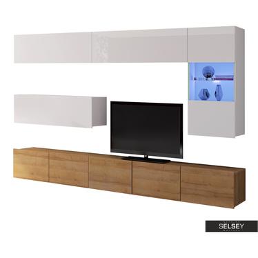 Wohnwand KIRDON hängend mit TV-Element 250 cm und LEDs