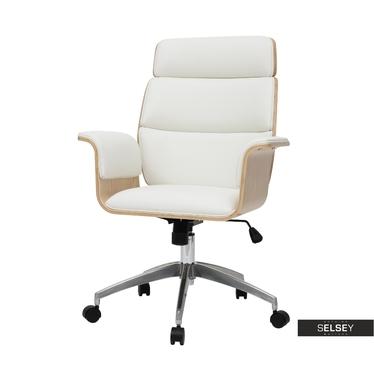 Bürostuhl GATINSO Weiß /  Ahorn mit Kunstlederbezug