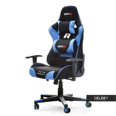Drehstuhl RACER GTR für Gamer schwarz/türkis mit Rückenkissen