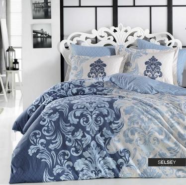 Bettwäsche FELRUN in Blautönen 4-teilig 200x220 cm mit 2 Kissenbezügen 50x70 cm