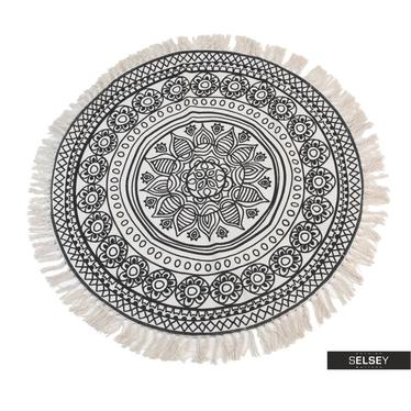 Fransenteppich 90 cm rund schwarz/weiß (dunkel)