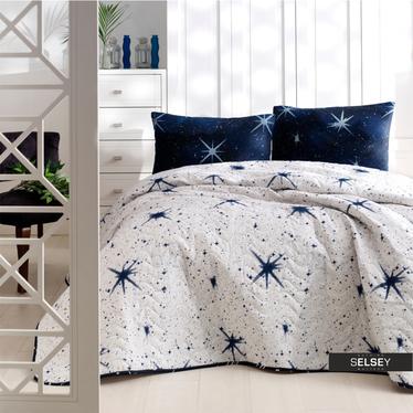 Tagesdecke UNIVERSE 160x220 cm mit Kissenbezug 50x70 cm weiß/blau mit Sternmuster