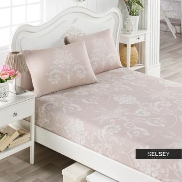 Bettlaken MINKY 160x200 cm und 2 Kissenbezüge 50x70 cm beige mit Pflanzen-Ornamenten