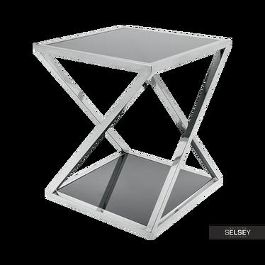 Beistelltisch OZGAR Stahl und Glas 40x40 cm