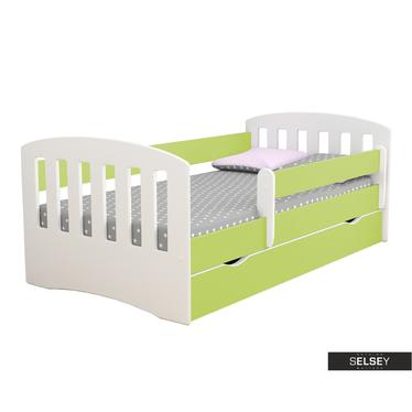 Kinderbett PAMMA in Weiß/Grün mit Rausfallschutz