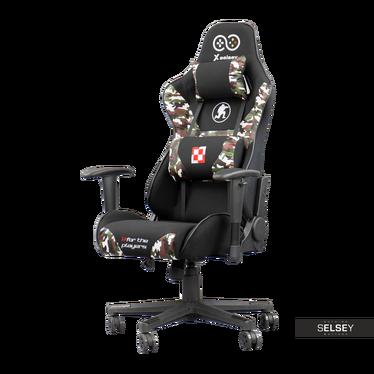 Gaming Stuhl ELLAVA Tarnmuster mit Rückenkissen