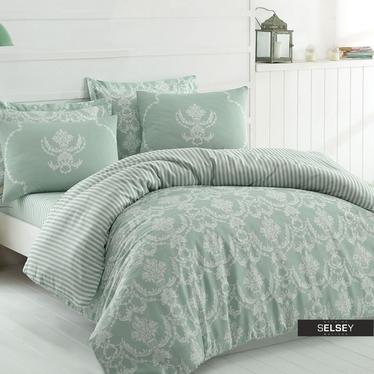 Bettwäsche SHEANA in Grün/Weiß 200x220 cm 4-teilig mit 2 Kissenbezügen 50x70 cm