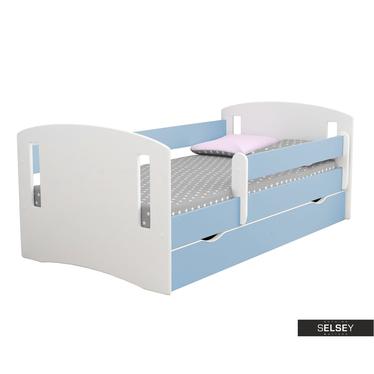 Kinderbett MIRRET weiß/blau mit Rausfallschutz