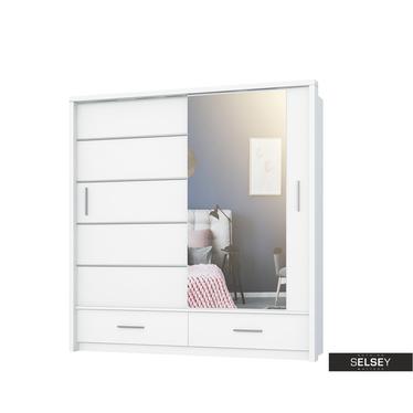Kleiderschrank LUGAROS 200 cm mit Spiegel und LED-Beleuchtung