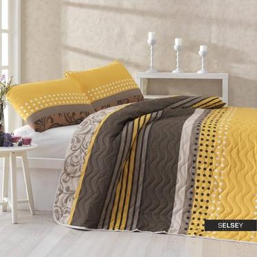 Tagesdecke SANDY 200x220 cm und 2 Kissenbezüge 50x70 cm gelb/braun