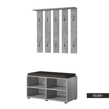Garderoben-Set GASRO in Betonoptik mit Schuhregal