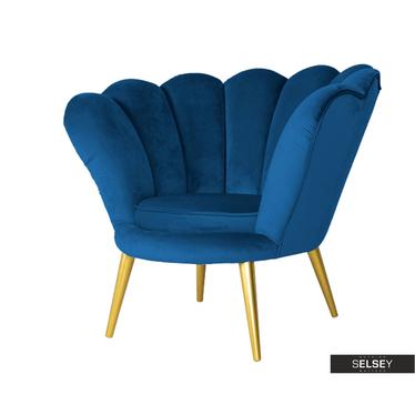 Sessel MAGNELM dunkelblau mit goldfarbigen Beinen