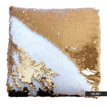 Dekokissen SPARLLES mit Pailletten gold/weiß 40x40 cm