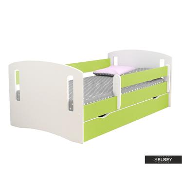 Kinderbett MIRRET weiß/grün mit Rausfallschutz