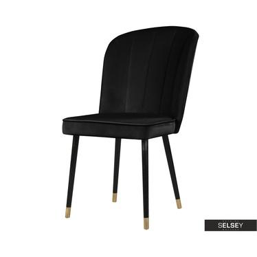 Stuhl GUAVRA schwarz mit Veloursbezug