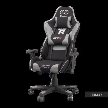 Drehstuhl RACER GTR mit Rückenkissen für Gamer schwarz/grau