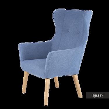Sessel EMIFBAN blau mit Holzbeinen