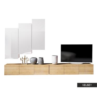 Wohnwand KIRDON mit 2 TVLowboards 300 cm und 3 Hängeschränken