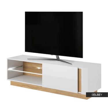 TV-Lowboard SKOKY Weiß/Eiche 138 cm