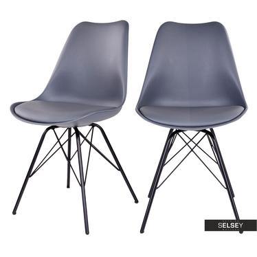 Esszimmerstuhl AVIHU 2er-Set grau mit schwarzen Stahlbeinen