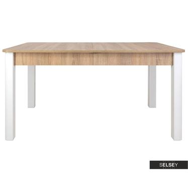 Esstisch EAGOR Sonoma Eiche/Weiß mit abgerundeten Kanten, ausziehbar von 140 cm bis 190 cm