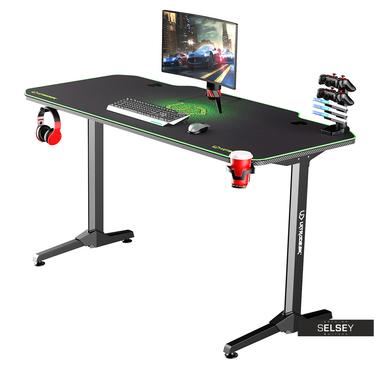 Gaming Tisch GAMORA Schwarz / Grün 140 cm breit
