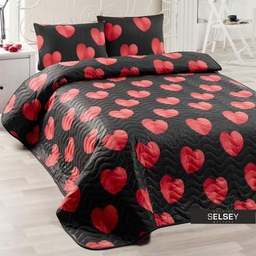 Tagesdecke HERZEN 200x220 cm und 2 Kissenbezüge 50x70 cm schwarz/rot