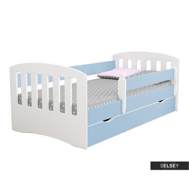 Kinderbett PAMMA in Weiß/Blau mit Rausfallschutz