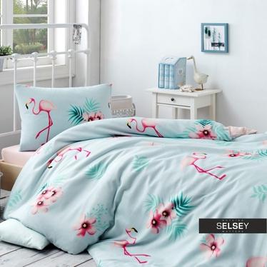 Bettwäsche-Set FLAMINGO 160x220 cm mit Kissenbezug 50x70 cm und Bettlaken in Minze