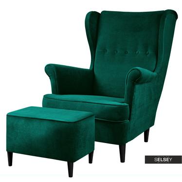 Sessel MALLMON Grün mit Samtbezug und Fußhocker