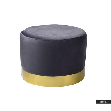 Pouf DELISO LOW grau mit Sockel in Goldfarben