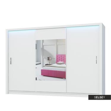 Kleiderschrank ORNOM 250 cm mit Spiegel in der Mitte