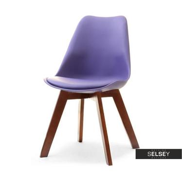 Stuhl LUIS WOOD violett/Nussbaum