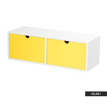 Wandregal EGBERT Weiß/Gelb mit 2 Schubladen