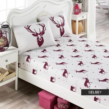 Bettlaken FOLKEEN mit Hirschmuster 160x200 cm mit 2 Kissenbezügen 50x70 cm