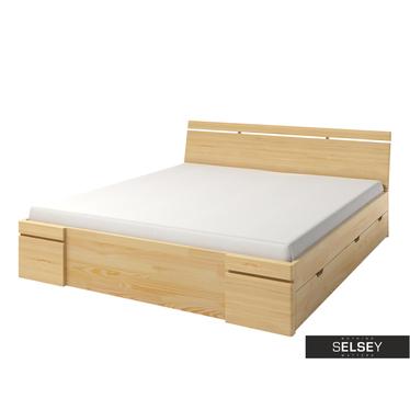 Bett LOPAR mit Lattenrost und 4 Schubkästen (Kiefernholz)