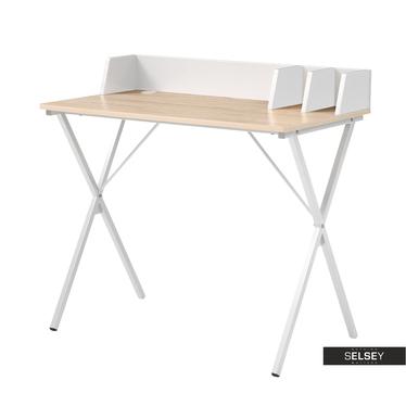 Schreibtisch RAPTOR Eiche/weiß mit Trennbrettern