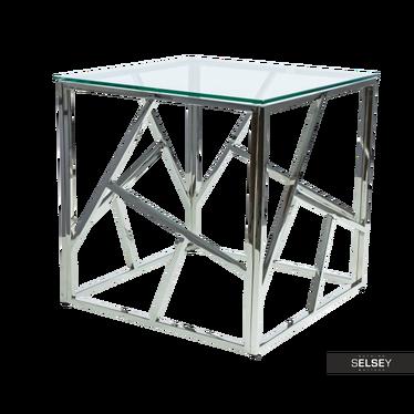 Beistelltisch VOGAR silber mit Glasplatte