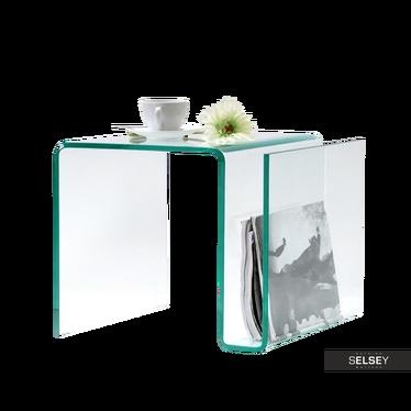 Beistelltisch EMERRIS aus Glas mit Zeitungsständer