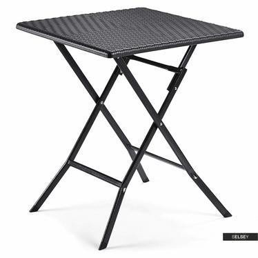 Gartentisch ALOX schwarz 62x62 cm aus Polyrattan