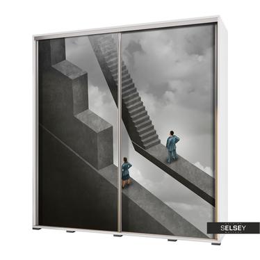 Kleiderschrank VENEDIG 205 cm mit Motiv abstrakte Treppe