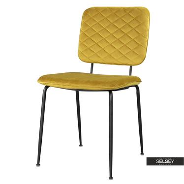 Stuhl ANTHONY gold mit schwarzen Metallbeinen