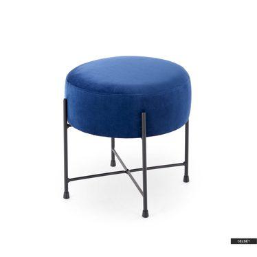 Fußhocker ROMEA dunkelblau mit schwarzen Metallfüßen