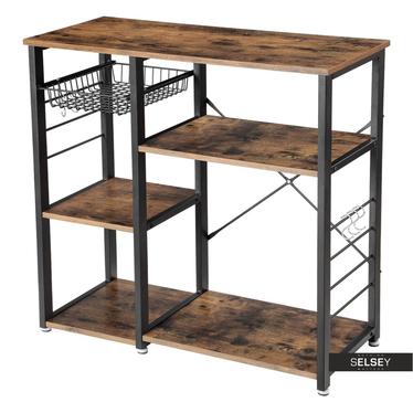 Küchenregal RAMIZU in rustikaler Holzoptik 90x40 cm