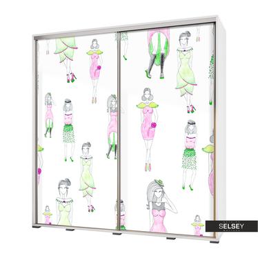Kleiderschrank VENEDIG 205 cm mit modisch gekleideten Zeichen-Figuren
