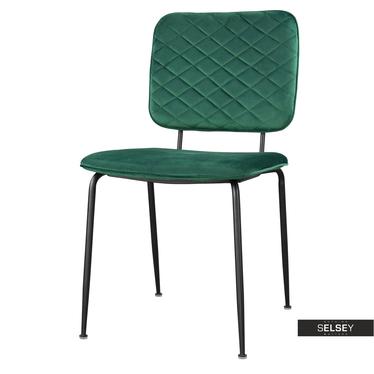 Stuhl ANTHONY grün mit schwarzen Metallbeinen