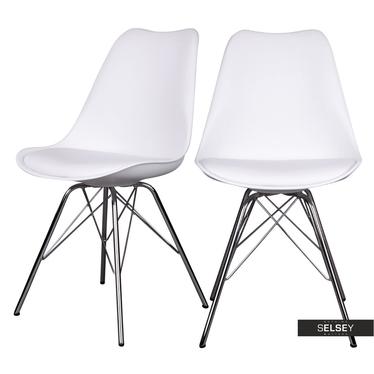 Esszimmerstuhl AVIHU 2er-Set weiß mit Beinen aus Chromstahl