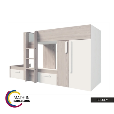 Etagenbett ERITREA mit Kleiderschrank, Regal und 2 Schubladen