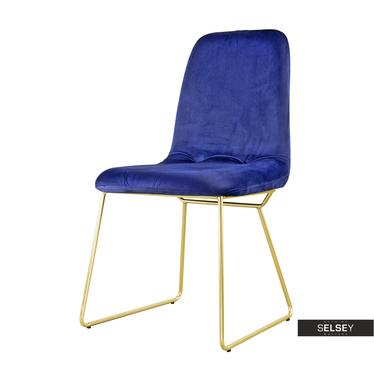 Stuhl HIRONNA blau/gold Kufenstuhl mit Veloursbezug